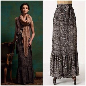 Anthropologie Lil Imprint Fossil Silk Maxi Skirt